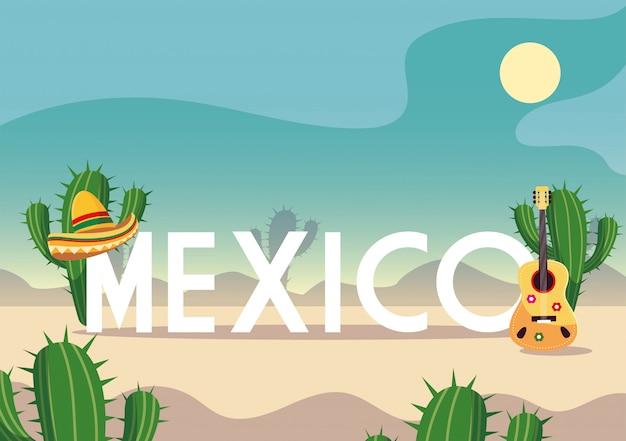 Cinco de mayo-etikett mit wüste im hintergrund