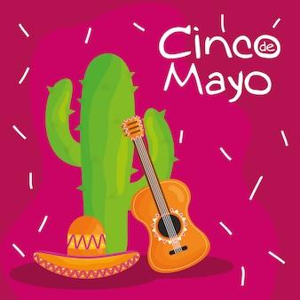 Cinco de mayo feier mit gitarre und kaktus