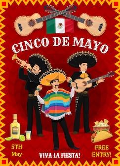 Cinco de mayo festival flyer mit mexikanischen musikern