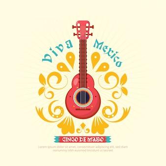 Cinco de mayo gitarrenhintergrund mit verzierung
