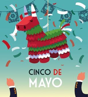 Cinco de mayo-grußkarte mit mexikanischer partei pinata