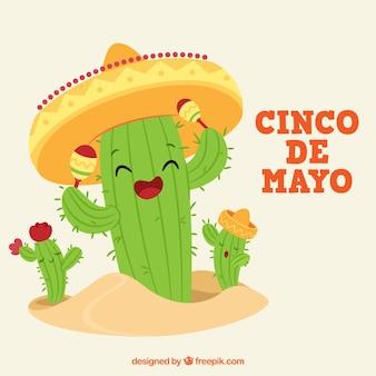 Cinco de mayo hintergrund mit lustigen kaktus zeichen