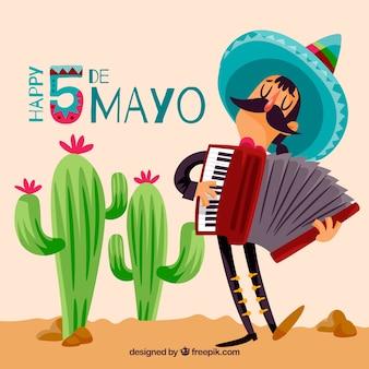 Cinco de mayo-hintergrund mit mexikanischem musiker