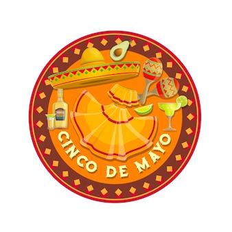 Cinco de mayo ikone mit sombrero hut
