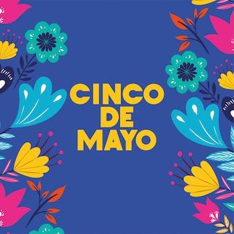 Cinco de mayo-karte mit blumenrahmen