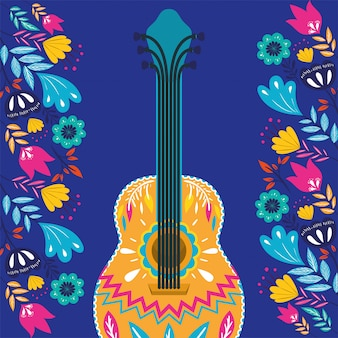 Cinco de mayo-karte mit gitarre und blumen