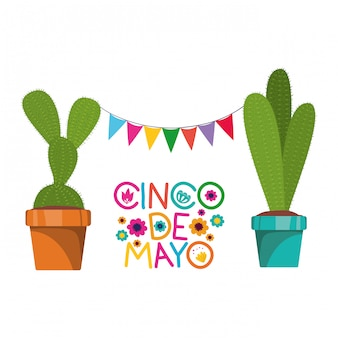 Cinco de mayo-karte mit kaktus auf weißer karte