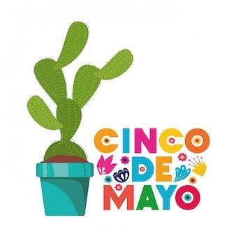 Cinco de mayo-karte mit kaktus-karte