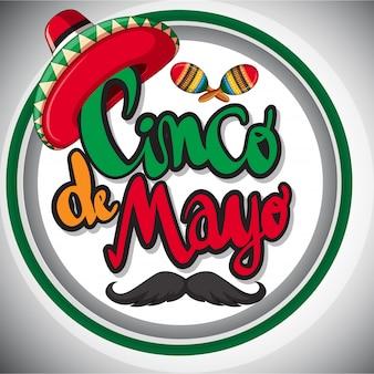 Cinco de mayo-kartenschablone mit mexican hut und maracas
