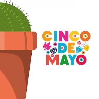 Cinco de mayo-label mit kaktus-symbol