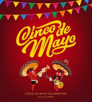Cinco de mayo mariachi mit rotem pfeffer und sombrero