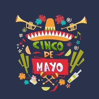 Cinco de mayo mexican holiday schriftzug