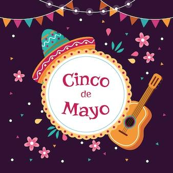 Cinco de mayo mit hut und gitarre