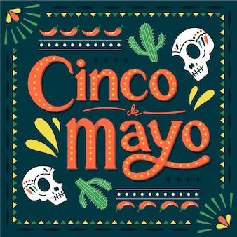 Cinco de mayo mit kaktus und schädeln