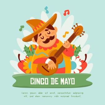 Cinco de mayo mit mann, der gitarre spielt