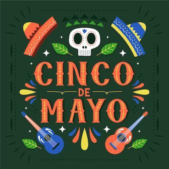 Cinco de mayo mit schädel und hüten