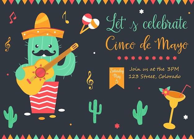 Cinco de mayo-plakatschablone mit hellem kaktus und symbolen. vektor-illustration