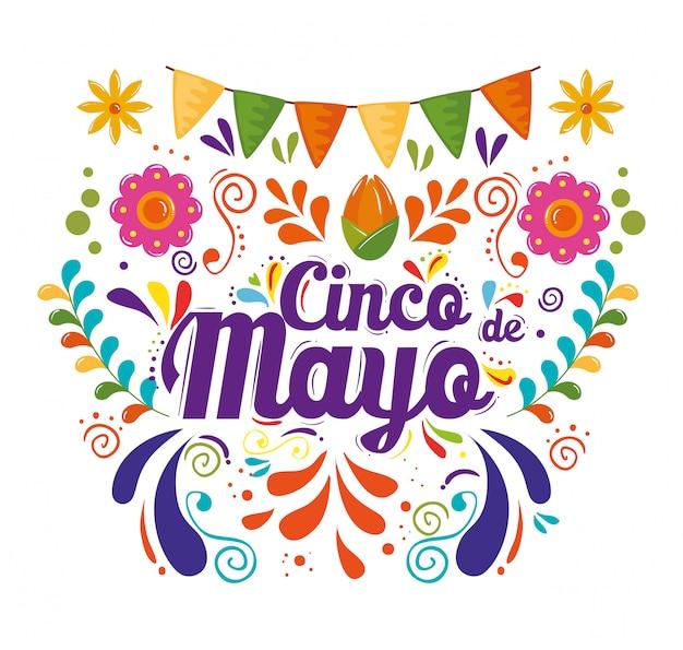 Cinco de mayo poster mit girlanden und bunten ornamenten