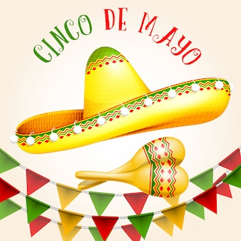 Cinco de mayo poster mit sombrero und maracas