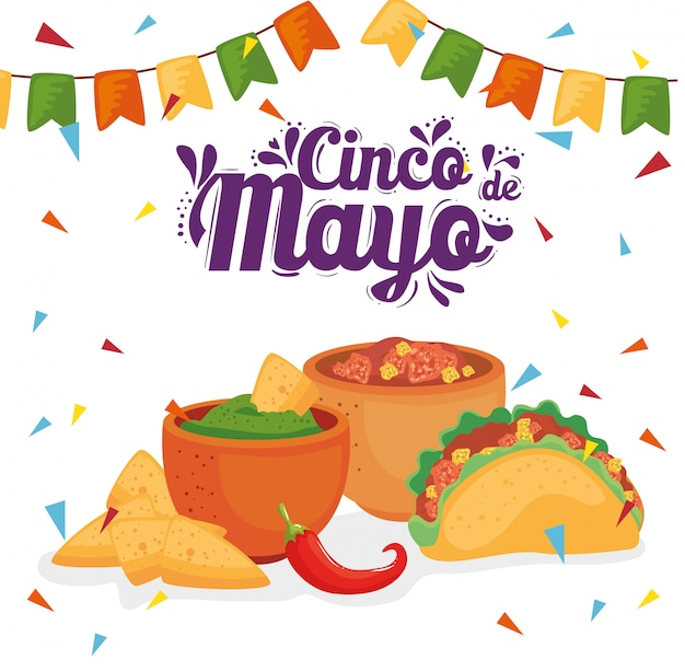 Cinco de mayo poster mit traditionellem essen und ornamenten