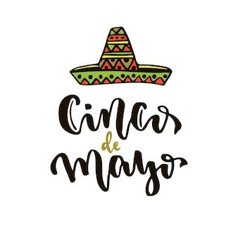 Cinco de mayo vektorikone. mexikanische feiertagsvektorbeschriftung. cinco de mayo kalligraphische grußkarte. vektor handgezeichnete schriftzug design