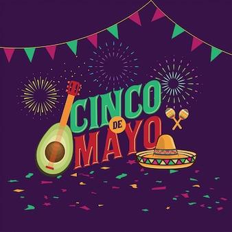 Cinco de mayo-vektorillustration, 5. mai