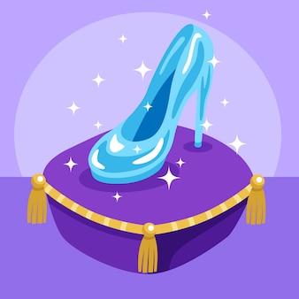 Cinderella glasschuh auf einem violetten kissen
