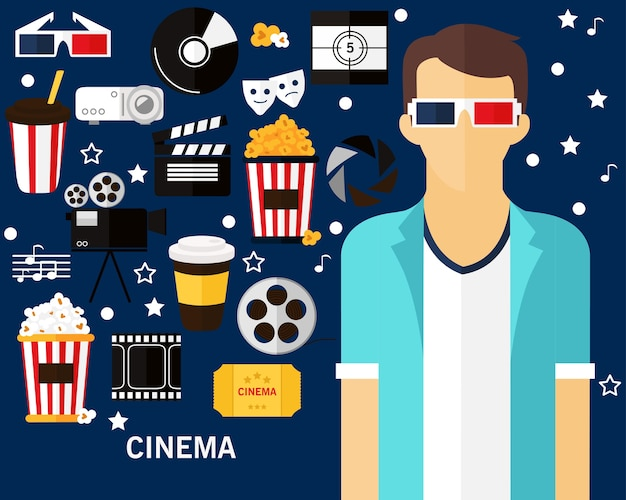 Cinema-concept-hintergrund. flache symbole.