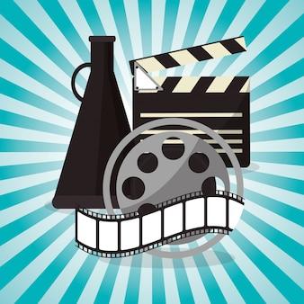 Cinema filmspulenstreifen mit lautsprecherdesign