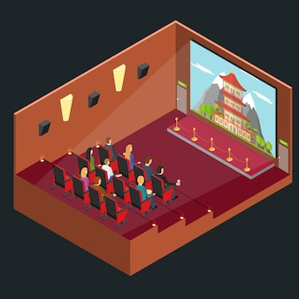 Cinema movie interior auditorium isometrische ansicht mit publikum und film