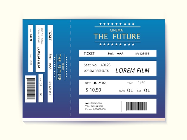 Cinema ticket card modernes element