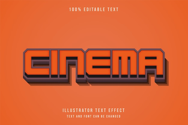 Cinema3d bearbeitbarer texteffekt gelbe abstufung orange stil