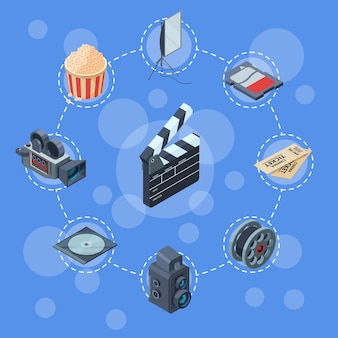 Cinematograph isometrische elemente infographik konzept