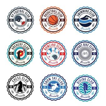 Circular sport club logo abzeichen set illustration