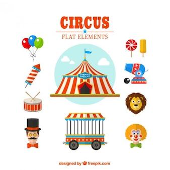 Circus flachen elemente packen