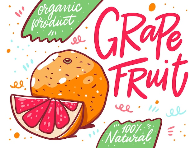Citrus grapefruit. bio-produkt. cartoon-stil.