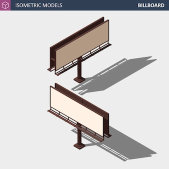 City advertise billboard - isometrische illustration. verschiedene perspektiven.