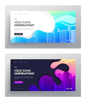 City buildings website landing page set.