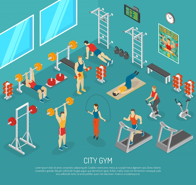 City fitness gym center isometrisches poster