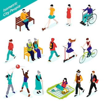 City people isometric set