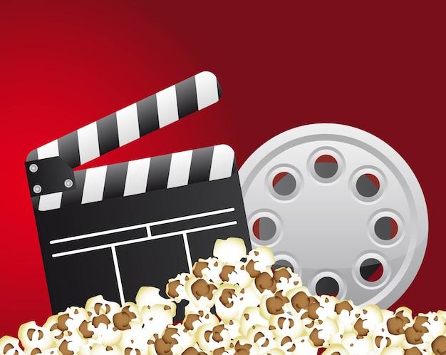 Clapper board mit filmstreifen und popcorn-vektor-illustration