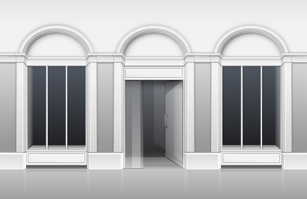 Classic shop boutique building store front mit glasfenster vitrine