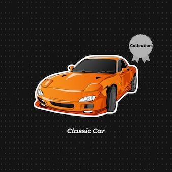 Classic sport car orange farbe hand zeichnen