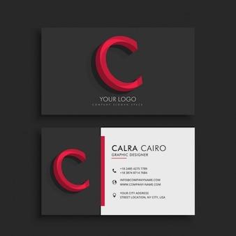 Clean dark visitenkarte mit dem buchstaben c