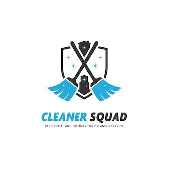 Cleaner squad-reinigungsservice für gewerbe- und wohngebäude-logo-symbol