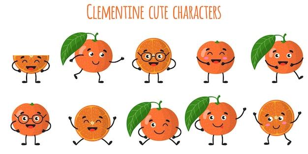 Clementine zitrusfrüchte süße lustige fröhliche charaktere mit verschiedenen posen und emotionen. natürliche vitamin-antioxidans-detox-lebensmittelsammlung. cartoon isolierte abbildung.