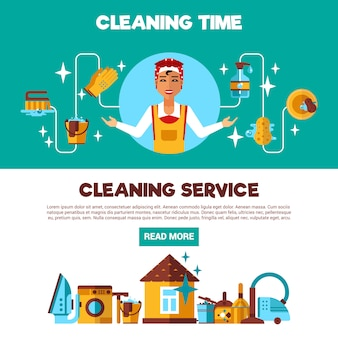 Clening service 2 flache banner-set