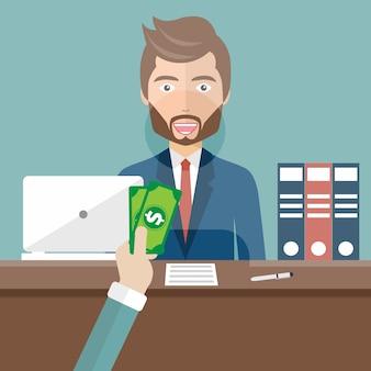 Clerk in einer bank, die geld empfängt