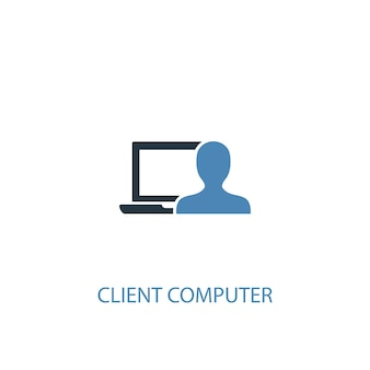 Client-computerkonzept 2 farbiges symbol. einfache blaue elementillustration. client-computer-konzept-symbol-design. kann für web- und mobile ui/ux verwendet werden