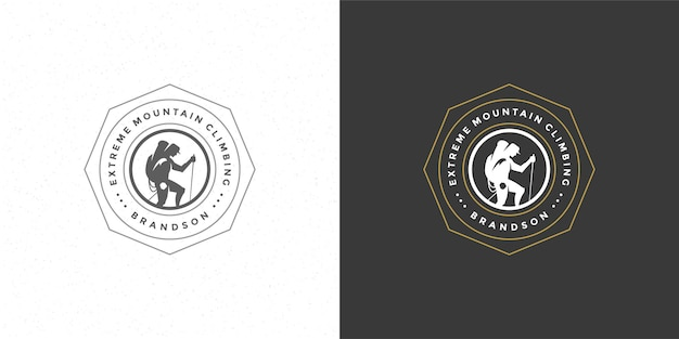 Climber logo emblem outdoor abenteuer expedition illustration